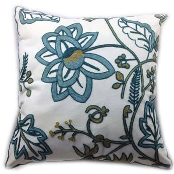 Decorative Cotton Canvas Crewel Embroidery Cushion cover,Beautiful Spring Pillow Case Bedding Sofa Chair Outdoor