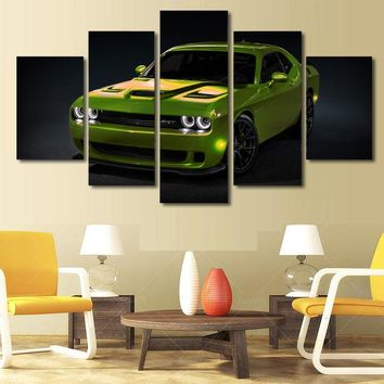 SubLime Green Dodge Challenger SRT RT Challenger 5 piece canvas wall art
