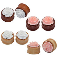 Longbeauty 4 Pair Organic Wood Ear Plugs with Pink/White Rose Flower Fresh Tunnels Stretcher Piercing 8MM