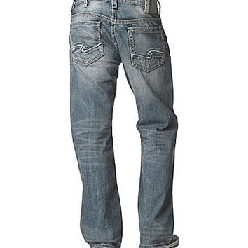 Silver Jeans Co. Gordie Flap-Pocket Loose Straight-Leg Jeans - Indigo