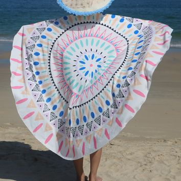 Hawaii Vintage Round Towel Boho Print Indian Mandala Roundie Large Beach Throw Tapestry Hippy Boho Gypsy Tablecloth Circle Towel