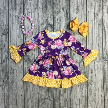 spring/winter baby girls cotton purple mustard floral dress ruffle children clothes boutique outfits knee-length match accessory