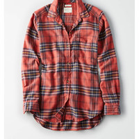 AE Plaid Boyfriend Shirt, Orange