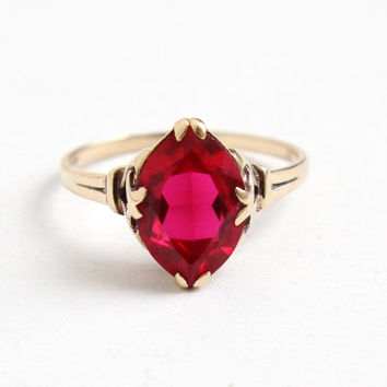 Vintage 10k Rosy Yellow Gold Art Deco Created Ruby Ring - Size 7 3/4 1930s Pink Stone Fine Jewelry Hallmarked Helm & Hahn