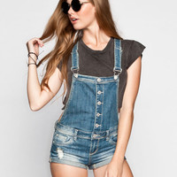 Almost Famous Womens Boyfriend Denim Short-Alls Dark Blast  In Sizes