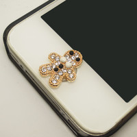1PC Cute Christmas Gift Bling Crystal Gingerbread Alloy Cell Phone Home Button Sticker Charm for iPhone 4,4s,4g,5,5c Kids Gift