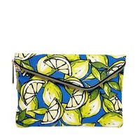 River Island Asymmetric Lemon Print Clutch
