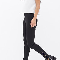 FOREVER 21 Zippered Knit Pants Black