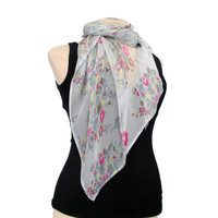 Grey Silk  Scarf with Pink and Yellow Flowers  - Weightless Scarf, Silk,  Gift floral Scarf, floral,  Scarves, Scarf , fairy, gift for her