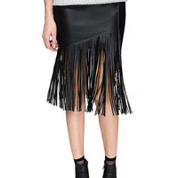 Black Fringe PU Leather Skirt