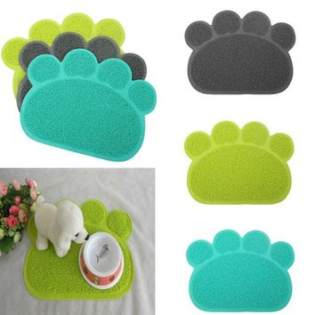 Wipe New Fashion Food Blanket Paw Shape Mat Embossed Water Pet Dish Bowl Placemat Cat/Dog