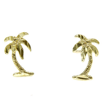 SOLID 14K YELLOW GOLD SMALL DIAMOND CUT HAWAIIAN PALM TREE STUD POST EARRINGS
