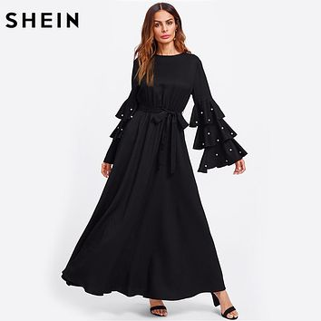 Pearl Beading Flare Sleeve Belted Hijab Dress Autumn Ladies Long Sleeve Maxi Dress Black Fall Dresses