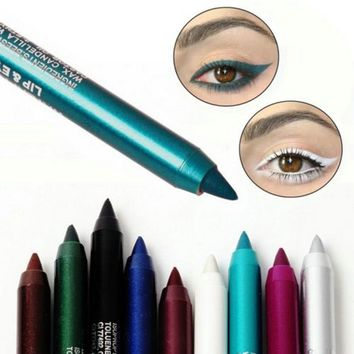 2PCS 6 Color Longlasting Eye Liner Pencil Pigment Waterproof Eyeliner Makeup Lie Silkworm HightlightBrush
