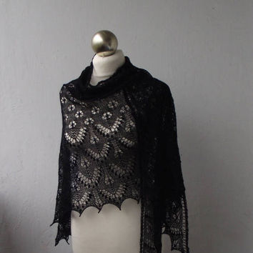 Black  hand knitted merino lace shawl with beads and nupps
