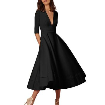 plus sizes s xxxl womens long ball gown prom ladies evening party swing dress solid  Dress