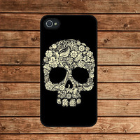 Floral Skull--iphone 4 case,iphone 4s case  ,in plastic or silicone case