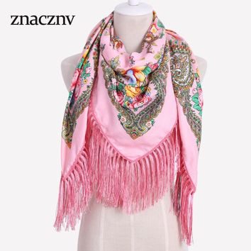 2017 New Cotton High Quality Printed Pattern Long Tassel Russian Woman Scarf Winter Autumn Square Brand Shawl