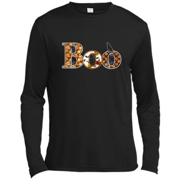 Halloween Boo Tee  Spiders Black Cat Funny Spooky Gift Long Sleeve Moisture Absorbing Shirt
