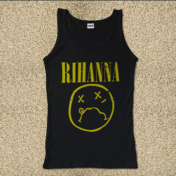 Rihanna on Nirvana Parody Style R&B Pop Dance for Tank Top Mens and Tank Top Girls