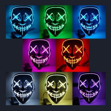 LED Light Mask Up Funny Mask from The Purge Election Year Great for Festival Cosplay Halloween Costume 2018 New Year Party Mask