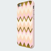 Gold Pink Chevron Galaxy Custom Case for Iphone 5/5s/6/6 Plus (White iPhone 6)