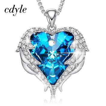 Cdyle Angel Wings Necklace Crystals from Swarovski Necklaces Fashion Jewelry For Women Heart Of Angel Mother's Day Gifts