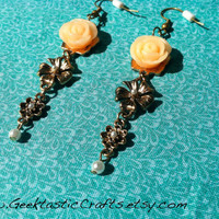 Antique Style Gold 3 Flower Drop Earrings, Peach Rose with Pearl Accents