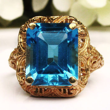 Ornate Antique Style Vintage Engagement Ring 6.00ct Blue Topaz Ring 10K Yellow Gold Filigree Ring Right Hand Ring Size 8!