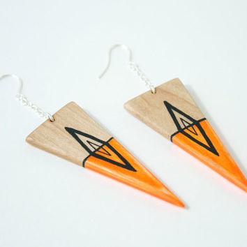 Hand-Painted Wooden Triangle Dangle Earrings in Neon Orange and Maple