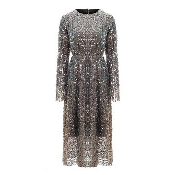 PERHAPS U elegant club party  o neck gray sequined bling long sleeve knee length autumn spring dress D0906