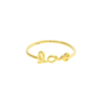 "Sterling Silver ""LOVE"" cursive script word Mid Finger Ring"