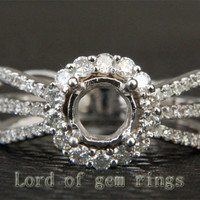 Diamond Engagement Semi Mount Ring 14K White Gold Setting Round 6mm