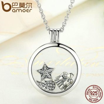 Genuine 925 Sterling Silver Medium Petite Memories Floating Locket Necklaces & Pendants Sterling Silver Jewelry PSF001