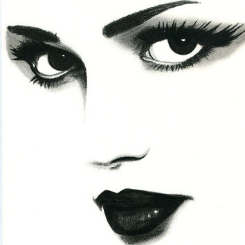 sad eyes woman original art pencil drawing eyes lips womans face, black and white art, fashion makeup beauty pop artwork