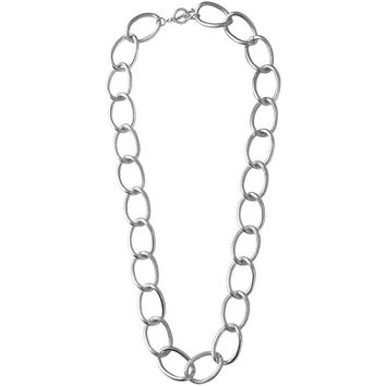 EMMA LARGE LINKS LONG NECKLACE IN SILVER