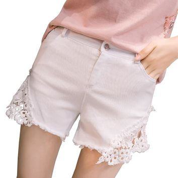 2018 summer new lace crochet patchwork shorts women high waist frayed thin sexy denim shorts skinny elastic hot short feminino
