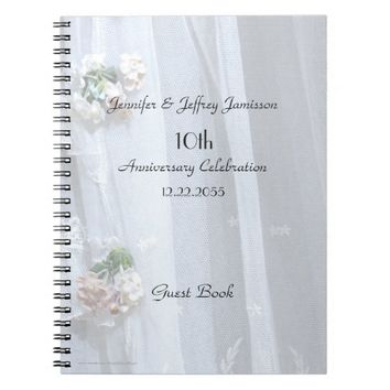10th Anniversary Party Guest Book, Vintage Lace Notebook