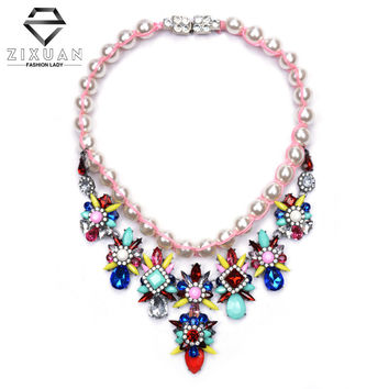 Fashion Rope Bead Statement Necklaces Women 2015 Multicolor Crystal Pearl Choker Collar Necklaces ZA Brand Necklaces & Pendants