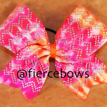 Tie Dye Rhinestone Chevron Cheer Bow