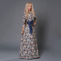 Russian Style Print Dresses Long Floor-Length  Plus Size