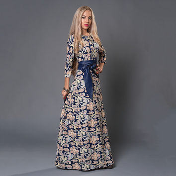 S.FLAVOR Brand Women long Dress hot sale 2017 Spring Summer Russian Style Print Dresses Long Floor-Length  Elegant vestidos