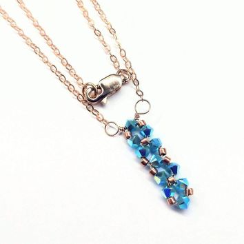 Tiny Super Sparkly Vertical Crystal Bar Necklace