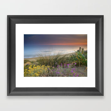 Seaside flowers Framed Art Print by Guido Montañés