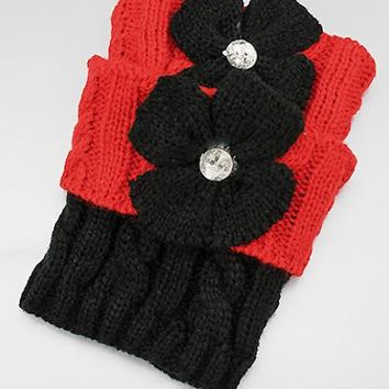 Twist Pattern Knit w/Crystal Stud Flower Boot Cuffs