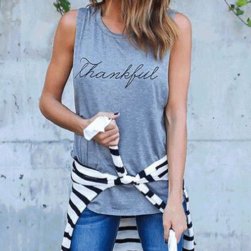 Women Basic Tops Round Neck Sleeveless Letter Thanksful Print Loose Casual Girls Tank Tops