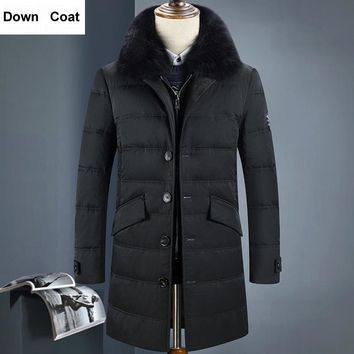 Long Thicken Warm Hooded Men Winter Down Jacket Natural Fur Collar