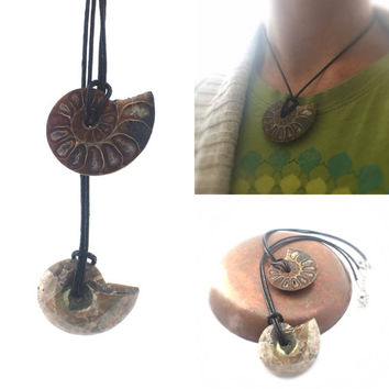 "Ammonite Necklace / 14"" Choker Necklace  / Nautilus Necklace, Ammonite Pendant Hippy Jewelry / Surfer Gift / Ocean Theme / Ancient Fossil"
