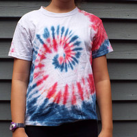 Little Kids Patriotic Tie Dye Shirt, Youth Small Red White and Blue T-Shirt, American Shirt, USA, America, 4th of July, rwb, fourth of july