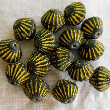 Five 11mm x 10mm Matte Black bicone with yellow accents, carved, chunky, rustic, African look pressed glass Czech beads, C0501
